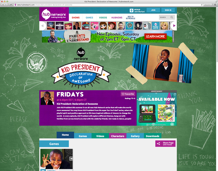 Hub Network Website Page- Kid President