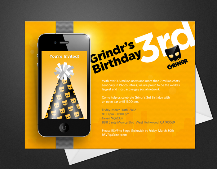Grindr 3rd Birthday Invite